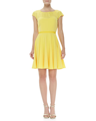 Cap-Sleeve Sweetheart Dress, Yellow