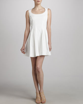 Sleeveless Fit & Flare Dress, White