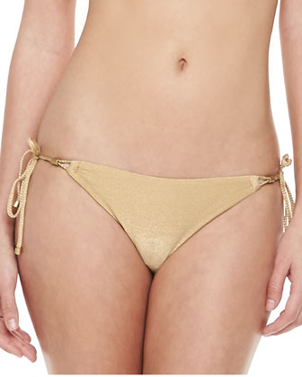 Gwyneth Shimmery Tie-Side Swim Bottom