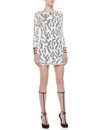 Vinica Open-Back Sequin Dress, White/Gunmetal