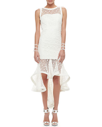 Celia Hi-low Crocheted Flower Dress with Ruffles, White