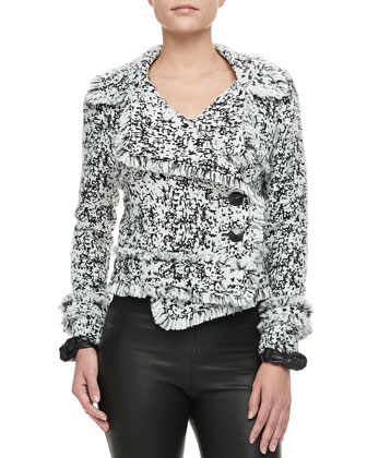 Nadia Fringe-Trim Tweed Jacket, Fly Away Silk Mesh Sleeveless Top & Pennie ...