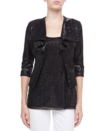 Drape Faux-Leather Jacket