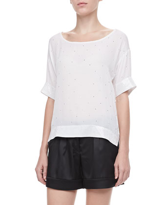 Embellished Boxy Top, White