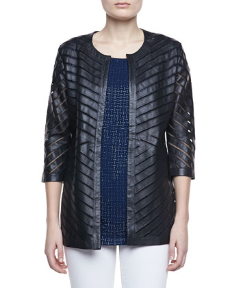 Leather Stripe Chevron Jacket, Black