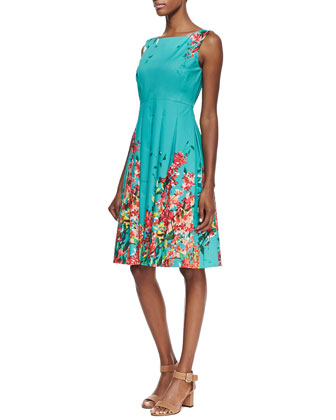 Zoe Floral-Print Pleated Dress