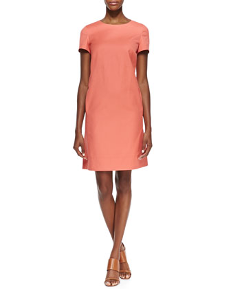 Drea Short Sleeve Shift Dress, Grapefruit