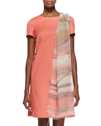 Drea Short Sleeve Shift Dress & Printed Gauzy Scarf