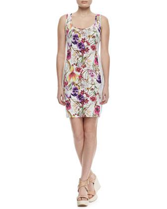 Floral-Print Beaded-Panel Tank Dress