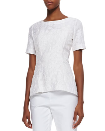 Heidi Jacquard Short-Sleeve Top