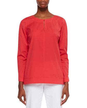Poplin Bracelet-Sleeve Top