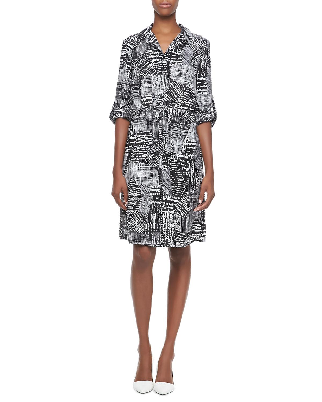 Womens Printed Drawstring Shirt Dress   Indikka   Black multi (SMALL/4 6)