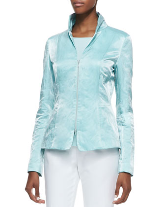 Raleiln Sateen Jacket, Mesh-Inset Scoop-Neck Tee & Cropped Bleecker Pants