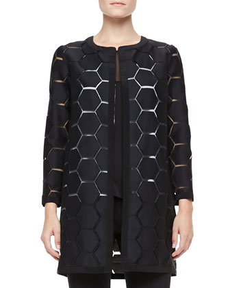 Geometric Cocktail Coat, Mesh Flyaway Top & Super Cropped Trousers