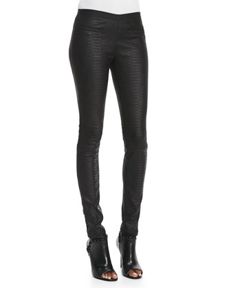 Python-Embossed Leather Leggings