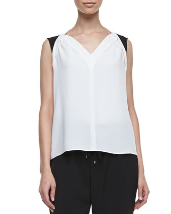 Caleb Sleeveless V-Neck Blouse, Joey White/Black