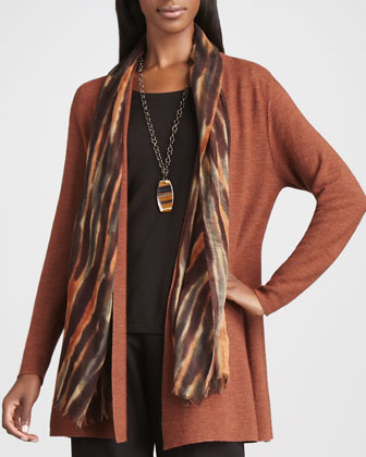 Long Wool Cardigan, Long-Sleeve Tee, Blurred Wrap & Straight-Leg Ponte ...