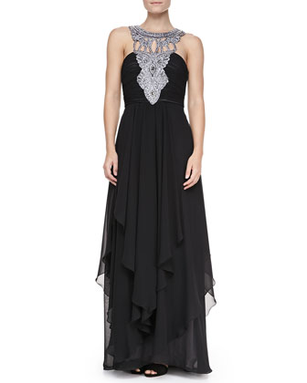 Tiered Chiffon Jewelry-Neck Gown