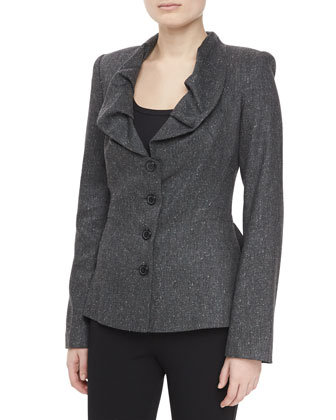 Ruffle Neck Tweed Jacket, Heather