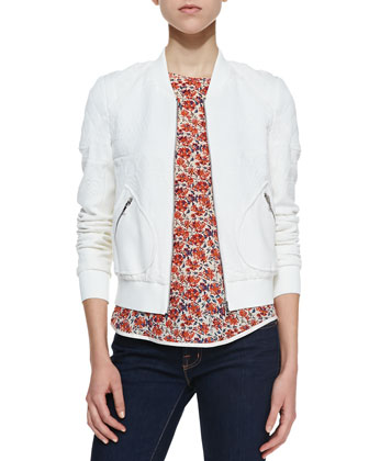 Patterned Jacquard Bomber Jacket & Sweet William Floral-Print Tee