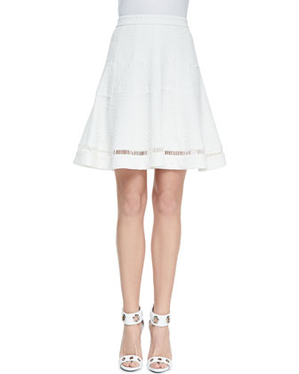 Jacquard Cutout-Hem Flared Skirt