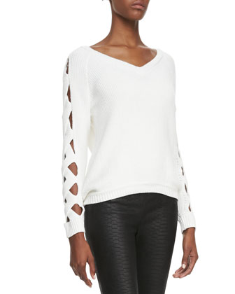 Cutout-Sleeve Ribbed Sweater