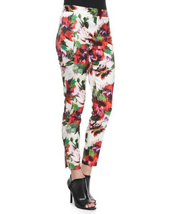 Silk Dolman-Sleeve Top & Floral-Print Slim Pants
