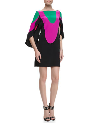 Colorblock Butterfly-Sleeve Dress