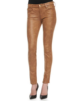 The Skinny Crackle Leather-like Jeans, Cognac
