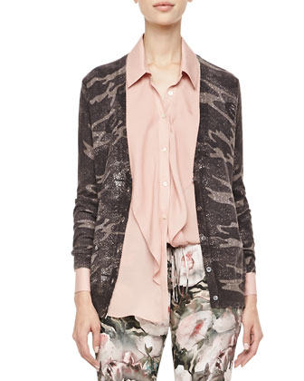 Abstract Camo-Printed Glittery Cardigan