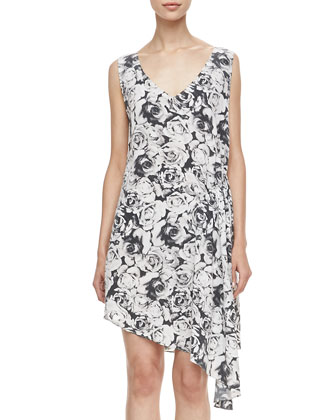 Rose-Print Asymmetric Dress