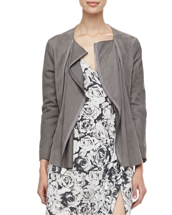 Draped Suede Zip Jacket & Rose-Print Asymmetric Dress