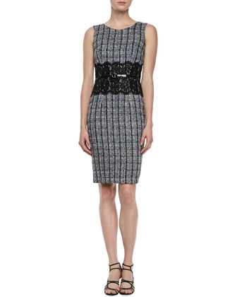 Sleeveless Tweed Lace-Waist Dress