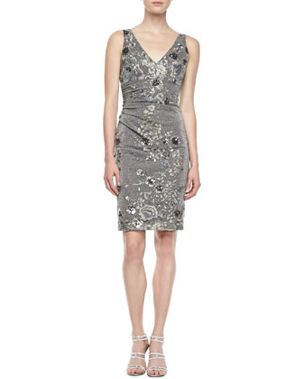 Sleeveless Floral Embroidered Cocktail Dress, Gray