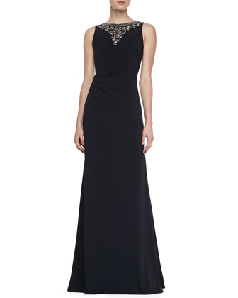 Sleeveless Jewelry Neck Gown, Navy