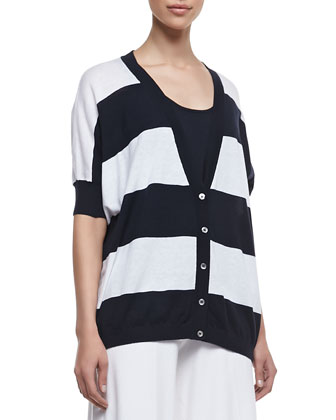 Rugby Striped Pow Cardigan, Banded-Hem Cotton Tank & Silk Palazzo Pants