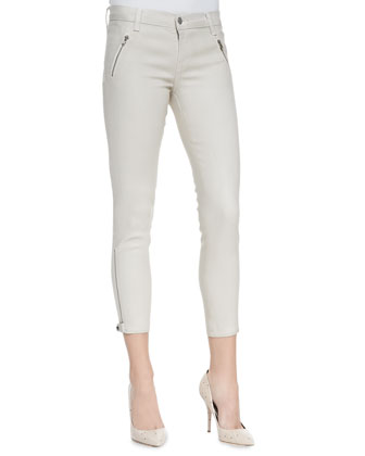 Carey Lacquered Moto Pants, Chalk