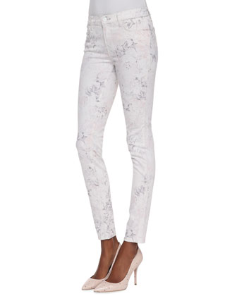 620 Mid-Rise Skinny Ghost Rose Floral-Print Jeans