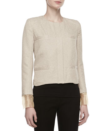 Tweed Placket Boxy Jacket, Beige