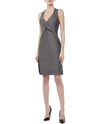 Sleeveless Crisscross Sheath Dress, Navy