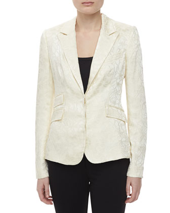 Two-pocket Jacquard Jacket, Ivory