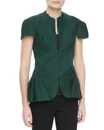 Textured Short-Sleeve Pleated Peplum Jacket