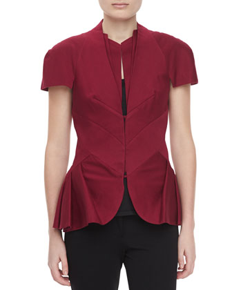 Crepe Cap-Sleeve Jacket, Burgundy