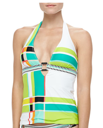 Plaid Center-Ring Tankini Top & Mixed-Print Hipster Swim Bottom