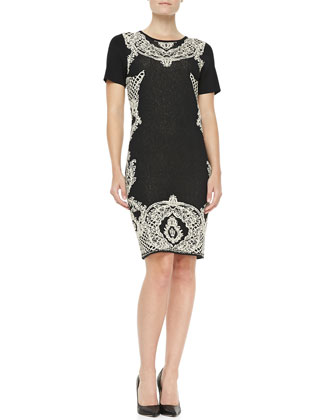Military Cardigan & Palace Jacquard Sheath Dress