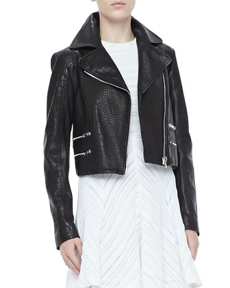 Vespa Croc-Embossed Moto Jacket and Basha Sleeveless Dress