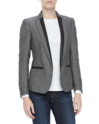 Lorimer Jacquard Tuxedo Blazer and Dakota Seam-Back Tee