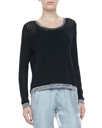 Ariana Perforated Split-Back Pullover