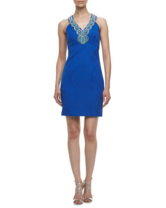 Beaded V-Neck Sleeveless Jacquard Dress, Tide Pool Blue