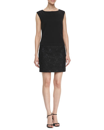 Boat-Neck Wedge Lace Dress, Black